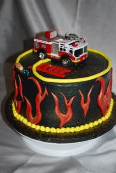 Fire truck cake. This would be great for my Volunteer fire and rescue friends!!!
