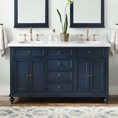Keller Double Vanity for Undermount Sinks - Vintage Navy Blue - Bathroom Blue Bathroom Vanity, Navy Blue Bathrooms, Bathroom Vanities, Bathroom Ideas, Bathroom Organization, Bathroom Storage, Bathroom Renovations, Boho Bathroom, Bathroom Trends