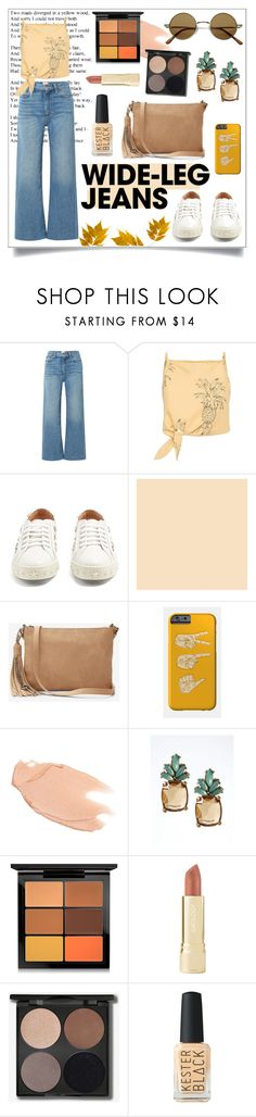 """""""#Wide-LegJeans"""" by aguscasella ❤ liked on Polyvore featuring Simon Miller, Aquazzura, Express, Too Faced Cosmetics, Banana Republic, MAC Cosmetics, Axiology, denimtrend and widelegjeans"""