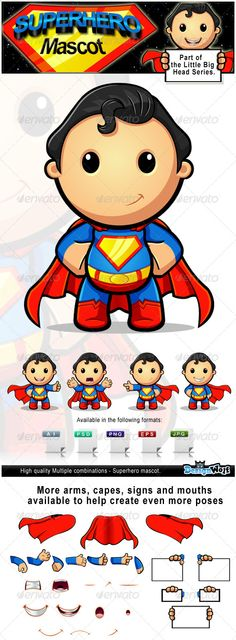 Superhero Mascot Character  #GraphicRiver         Here is my high quality 'Superhero Mascot Character' which is from my 'Little Big Head' series.