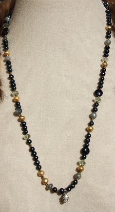 Holy Faith Necklace - navy pearls,  green amethyst, laborite, chartreuse pearls, vintage elements