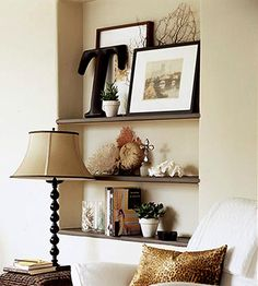 Recessed shelves are so chic. Looking at my walls right now.in my living room. Décor Niche, Niche Decor, Alcove Decor, My Living Room, Living Room Decor, Wall Nook, Recessed Shelves, Wood Shelves, Homemade Home Decor