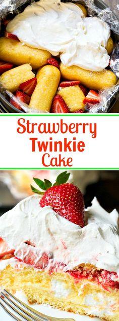 Strawberry Twinkie Cake, maybe use a graham cracker crust Potluck Desserts, Spring Desserts, Easy Desserts, Delicious Desserts, Dessert Recipes, Yummy Food, Healthy Food, Cold Desserts, Fruit Dessert