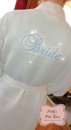 Fast Shipping Back Only Mrs. Bride White Waffle Bridal Rhinestone Kimono Short Robe Bridal Shower Gift