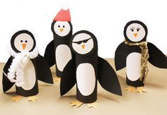 Paper roll penguins