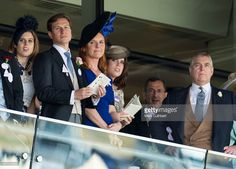 (L-R) Princess Beatrice, Dave Clark, Sarah Ferguson, Duchess of York, Princess Eugenie and Prince Andrew, Duke of York on day 4 of Royal Ascot at Ascot Racecourse on June 19, 2015 in Ascot, England.  (Photo by Mark Cuthbert/UK Press via Getty Images)