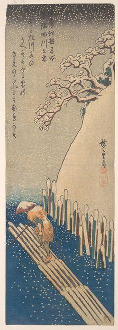 Snow on the Sumida River ca. 1835.  Utagawa Hiroshige