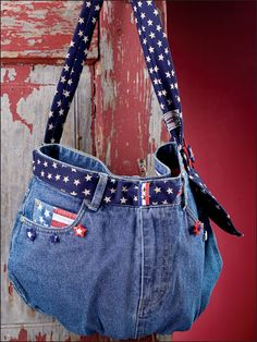 Star-Spangled Satchel Sewing Pattern Download from e-PatternsCentral.com -- Make this summer bag by recycling used jeans.