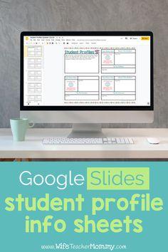 Student Information Binder, Student Information Sheet, Middle School Technology, Meet The Teacher Template, Google Classroom, Elementary Teacher, Learning Resources, Classroom Management, Online Classroom