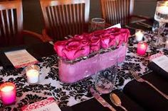 wedding with damask table runners - Google Search