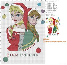 Elsa e Anna Feliz Navidad patrón punto de cruz