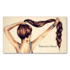 Long Hair Beauty Business Card Template - stylist business card