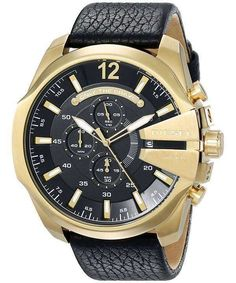 Shop for Diesel Men's 'Mega Chief' Chronograph Black Leather Watch. Get free delivery On EVERYTHING* Overstock - Your Online Watches Store! Black Leather Watch, Leather Men, Diesel Watch, Discount Watches, Online Watch Store, Schmuck Design, Breitling, Casio Watch, Quartz Watch