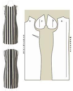 Ärmelloses Kleid Schnittzeichnung