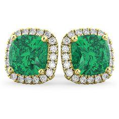 Allurez Halo Cushion Emerald & Diamond Earrings 14k Yellow Gold (4.04... ($11,780) ❤ liked on Polyvore featuring jewelry, earrings, gold diamond earrings, emerald earrings, 14 karat gold earrings, gold jewelry and yellow gold earrings