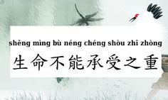 """The origin of this Chinese expression actually comes from title of the translation of Milan Kundera's novel """"Nesnesitelná Lehkost Bytí"""". The title was called """"生命中不能承受之轻 shēngmìng zhōng bùnéng chéngshòu zhī qīng"""". Then somebody reused the title and turned it into a popular phrase: 生命不能承受之重.    It describes a heavy emotional burden or sorrow in one's life. Literally it is elegant and not hard to comprehend: """"The weight that a life can not handle"""". At the same time it feels like a poem phrase…"""