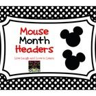 FREE Mouse month headers See matching calendar numbersLive Laugh and Love to Learn...