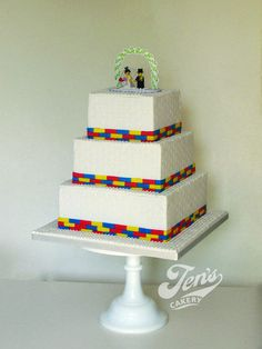 "Here's my lego-themed cake from the weekend! The bride and groom toppers are ""real"" lego but everything else is edible. FULL credit for the design goes to Crafty Confections who kindly gave me permission to attempt to recreate her master piece!..."