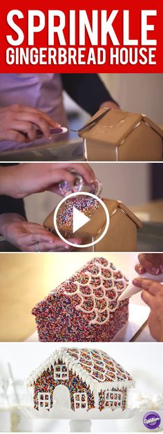 Sprinkles make everything more fun, even your holiday gingerbread house. For ease, start with a pre-assembled house; all the icing, bags and tips you'll need are included with the kit. Adding rainbow nonpareils turns this iconic holiday centerpiece into a kaleidoscope of color.