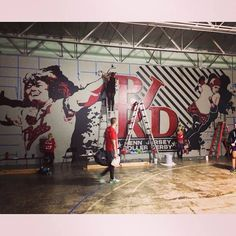 "Mural Painting for Penn Jersey Roller Derby Team in Philadelphia Warehouse. Featuring Professional Roller Derby skater Judy ""The Polish Ace"" Sowinski."