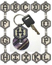 A to Z Initial Stone Donut Key Fobs by Deb Moffett-Hall aka Patterns to Bead Beading Patterns Free, Peyote Patterns, Bead Patterns, Craft Patterns, Alphabet Beads, Native American Crafts, Brick Stitch, Key Fobs, Bead Weaving