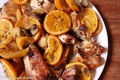 Orangen-Hähnchen mit Salzzitronen auf Gemüsebett #orientalisch # Hähnchen # chicken