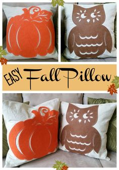 Easy Fall Pillow - quick and easy way to make a fall pillow. Use dollar store felt cut outs. #dollartree