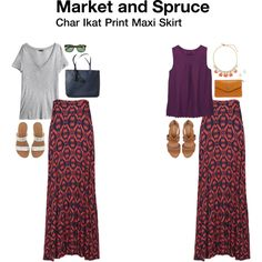 Market and Spruce Char Ikat Print Maxi Skirt  Received in Stitch Fix #2 - keep! I tore the tags off and wore it out that night. Love the soft feel and how it moves when I walk.
