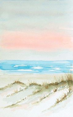 """Beach Art Print """"Sand Dunes at Dawn"""" in pink and blue Watercolor Paintings For Beginners, Watercolor Projects, Watercolor Landscape Paintings, Watercolor Portraits, Abstract Paintings, Watercolor Artists, Easy Paintings, Watercolor Ocean, Watercolor Print"""