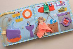 Dollhouse quiet book with felt doll and clothes Girls busy