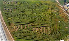 Farmstead's 2012 corn maze in Meridian, Idaho is carved into the shape of presidential candidates Mitt Romney and President Barack Obama.