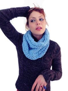 Handknit blue cowl - Big Blue  chunky cotton circular scarf