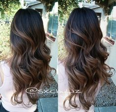 24 Long Wavy Hair Ideas That Are Freaking Hot in 2019 - Style My Hairs Brown Hair Balayage, Balayage Brunette, Hair Color Balayage, Brunette Hair, Hair Highlights, Ombre Hair, Bayalage Black Hair, Pelo Guay, Long Dark Hair