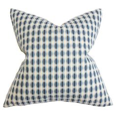 Cotton pillow with a dotted motif and feather-down fill. Made in the USA.  Product: PillowConstruction Material: