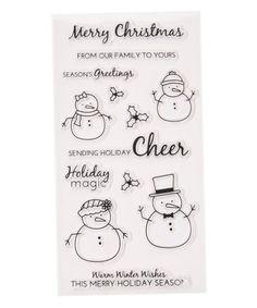Look what I found on #zulily! Snowman Sentiment Clear Silicone Stamp Set #zulilyfinds