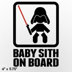 Baby Sith Lord On Board Custom Vinyl Decal/Sticker on Etsy, $5.50