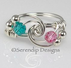 Couples Birthstone Ring Argentium Sterling by SerendipDesignsJewel $24 Double click on image for more info or to purchase