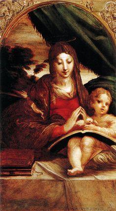 Parmigianino, madonna doria - Natività con angeli - La Madonna Doria è un dipinto a olio su tavola (59x34 cm) del Parmigianino, databile al 1525 circa e conservato nella Galleria Doria-Pamphili a Roma. Per forma e dimensioni l'opera è ritenuta un dittico con la Natività con angeli, nello stesso museo. Ne esiste inoltre una versione più piccola (44x31 cm) giudicata pure autografa nei depositi degli Uffizi.