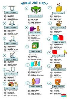 prepositions of place worksheet - Free ESL printable worksheets made by teachers English Lessons For Kids, Kids English, English Tips, English Study, English Words, Learn English, English Lesson Plans, English English, French Lessons