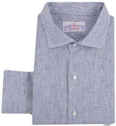 Luxire dress shirt constructed in Albini Linen: Navy Dress Stripes: http://custom.luxire.com/products/albini-su-misura-sahara-br-navy-dress-stripes-linen-fl51243_19   Consists of unfused English collar and single button cuffs.