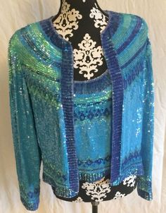 Nadeen Khan Silk And Sequin Jacket And Tank In Shades Of Blue Womens 12 #NaeemKhan #TankCamiwithJacket #Evening