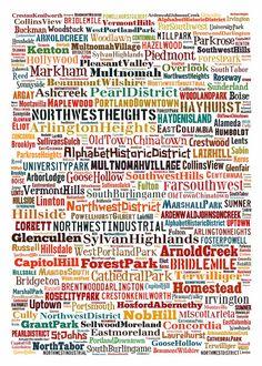 Portland Neighborhoods Typography Map