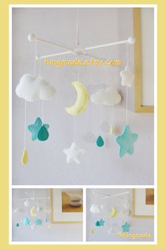 Baby Mobile - Ceiling Hanging Mobile - Nursery Decor - Moon and Star Mobile (Custom Color Available) on Etsy, $58.00