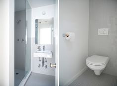 Elizabeth Roberts, white mosaic tile bathroom, Fort Greene townhouse remodel, Remodelista