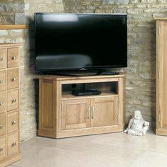 Mobel Solid Oak Corner Television Cabinet -  - TV Unit - Baumhaus - Space & Shape - 1