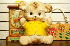 Vintage Edward Mobley squeaky bear toy. My dad has one from when he was a baby & Rye LOVES it!