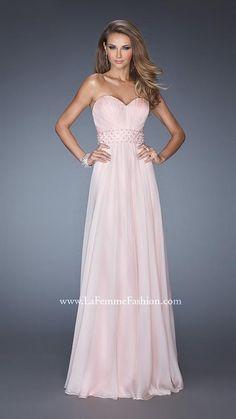 Chiffon La Femme 20140 Blush Evening Gown Long