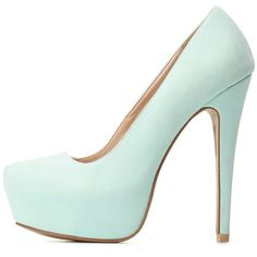 Charlotte Russe Qupid Almond Toe Platform Pumps ($36) ❤ liked on Polyvore featuring shoes, pumps, heels, high heels, sapatos, mint, mint green pumps, platform stilettos, high heel shoes and almond toe platform pumps