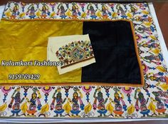 Hand loom tussar sareevwith pen kalamkari borders matched with full Blouse