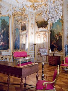 The music room at Sans Souci where JS Bach performed for the court of Frederick the Great.